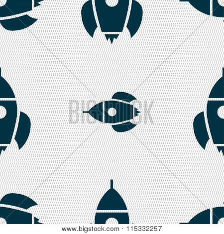 Rocket Icon Sign. Seamless Pattern With