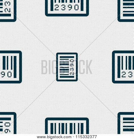 Barcode Icon Sign. Seamless Pattern With