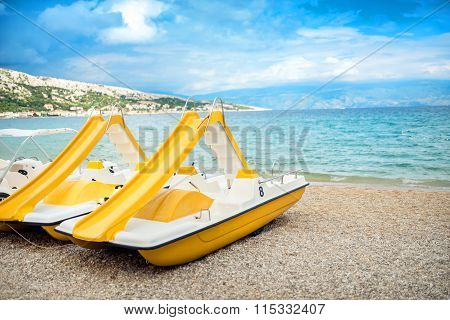 Beach Yellow Boats, Vacation Fun Details. Rental Boats On Shore