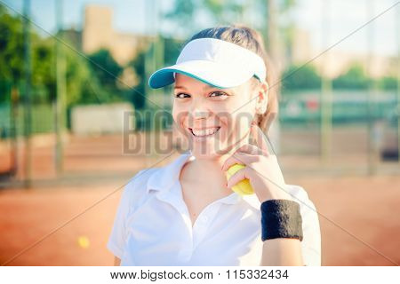Tennis Player, Sportswoman On Tennis Court Wearing Fitness Outfit And Training For Match. Modern Lif