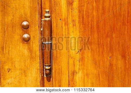 Europe  In  Italy  Antique Close Brown Door   Lock  Closeup