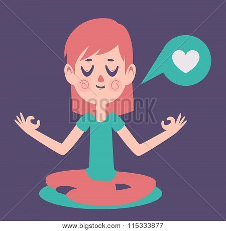 Girl Meditading Thinking About Love