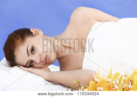 beautiful Asian woman relaxes at the spa