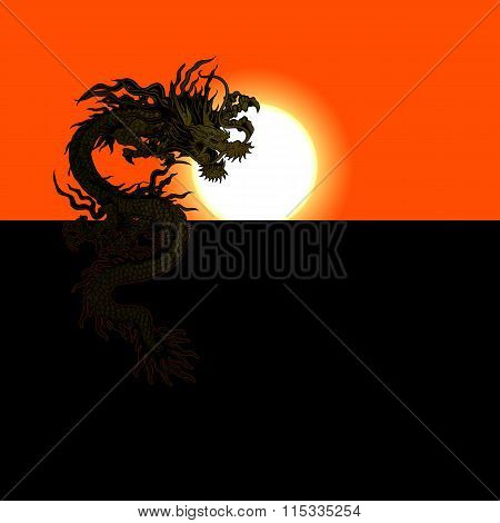 Chinese Dragon At Sunset Or Sunrise