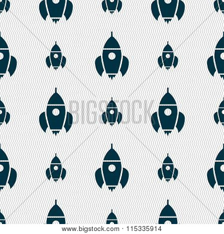 Rocket Icon Sign. Seamless Pattern With Geometric Texture.