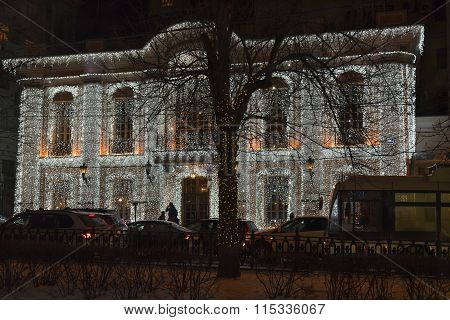 The House Decorated With Christmas Illumination