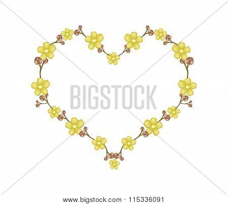Beautiful Yellow Simpor Flowers in Heart Shape