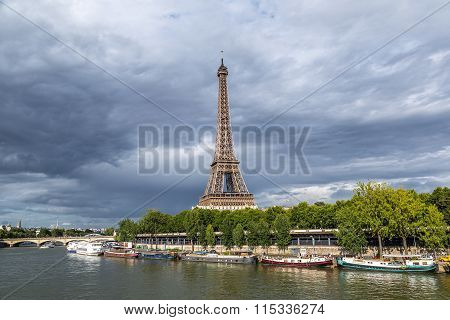 Seine And Eiffel Tower  In Paris
