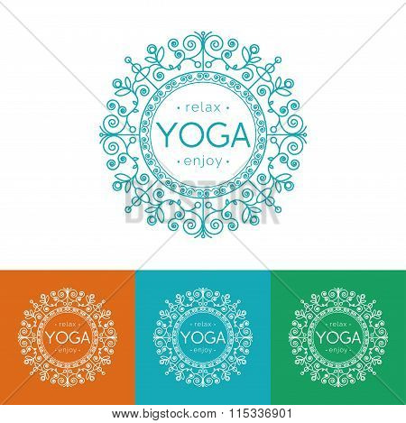 Elegant yoga emblem with floral ornament.