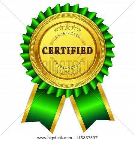 Certified Guaranteed Green Seal Vector Icon