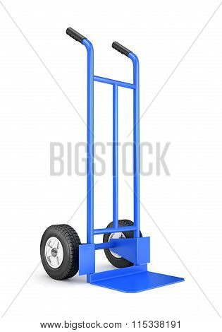 Blank Blue Two-wheeled Hand Truck For Transporting Heavy Loads, Isolated On White Background