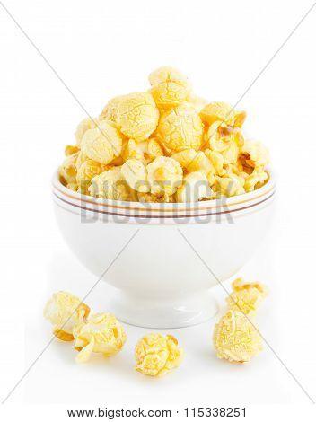 Popcorn In White Bowl.
