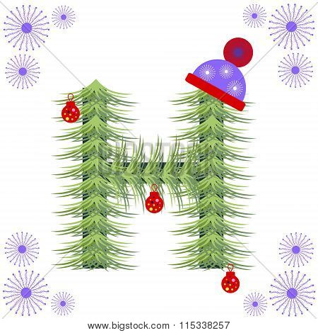 Vector illustration of fir-tree font H. Winter alphabet letter. Green stylized figure with Christmas