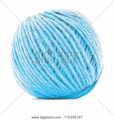 Blue Traditional Clew, Crochet Yarn Ball Isolated On White Background