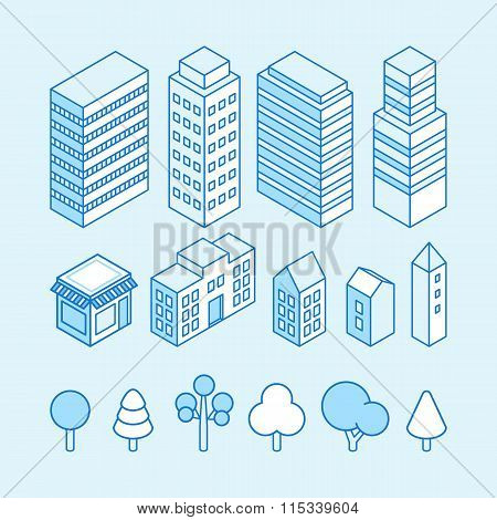Vector city landscape isometric illustration and icons set - map design elements