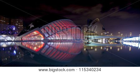 City Of The Arts And Sciences, La Ciutat De Les Arts I Les Ciències Is Lit Up At Night,  In Valencia
