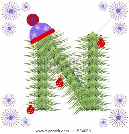 Vector illustration of fir-tree font. Winter alphabet letter. Green stylized figure with Christmas d