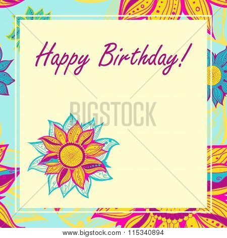 Vector Postcard With Flowers. Happy Birthday.
