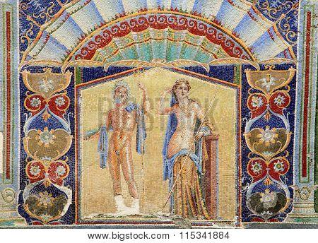 Neptune and Salacia wall mosaic in Herculaneum