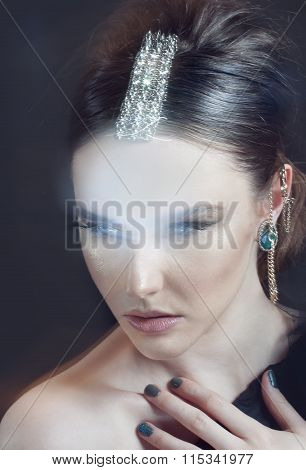 Fashion Elegant  Woman In Jewelry.
