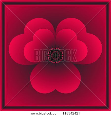 Beautiful Red Flower In Frame