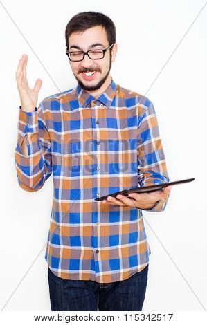 Smiling Young Man With A Tablet
