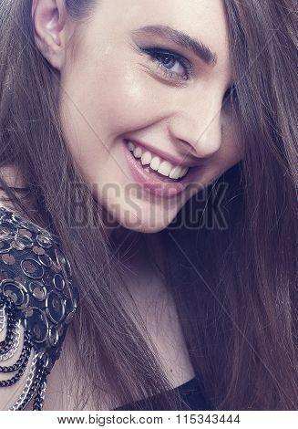 Fashion Smilin Girl With  Make- Up.