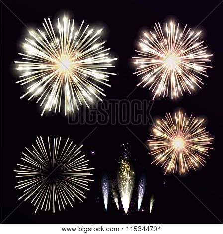 Vector Set Yellow Firework On Black Background. Night Sky