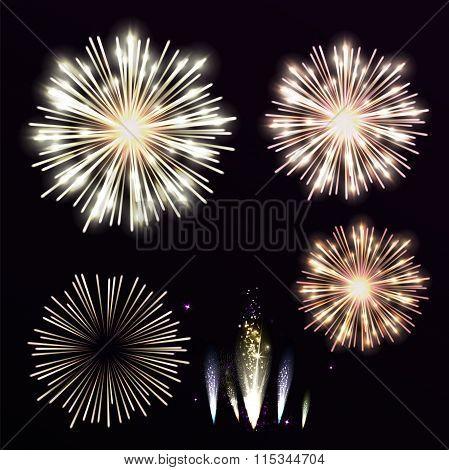 Vector Set Yellow Firework On Black Background. Night Sky