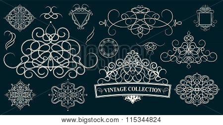 Set Vintage Borders, Frame And Rosette. Decoration For Logo,