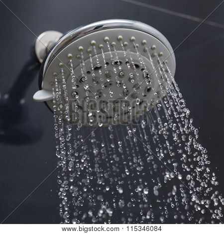 Shower Head With Water Drops Flowing