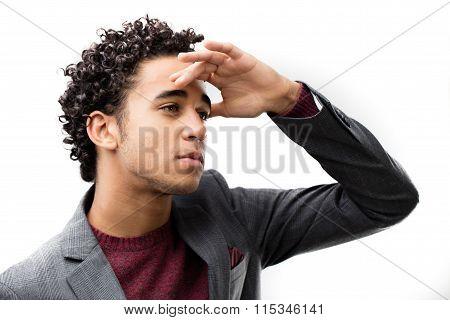 Young Man Looking Far Away