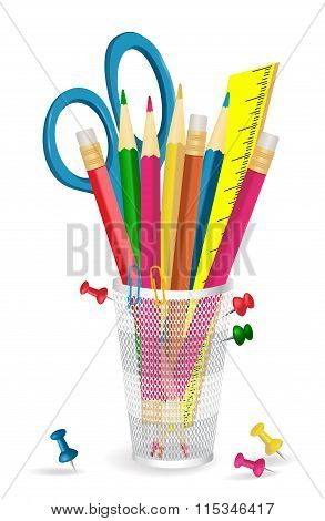Pencils, Scissors And Pins In Holder