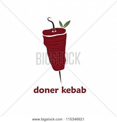 Vector Illustration Of Doner Kebab With Leaves