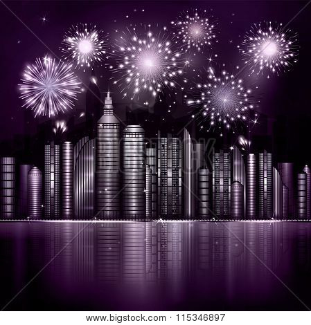 Firework Over Night City With Reflection In River. Vector Town