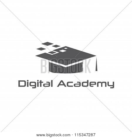 Graduation Cap Of Digital Academy Vector Design Template