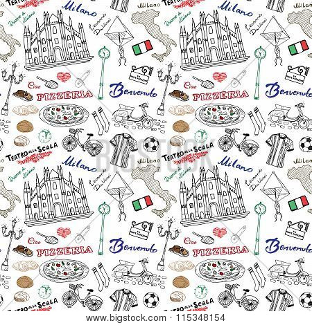 Milan Italy Seamless Pattern With Hand Drawn Sketch Elements Duomo Cathedral, Flag, Map, Pizza, Tran
