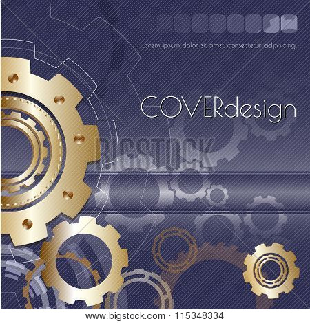 Vector square brochure cover design with golden  cogwheels.