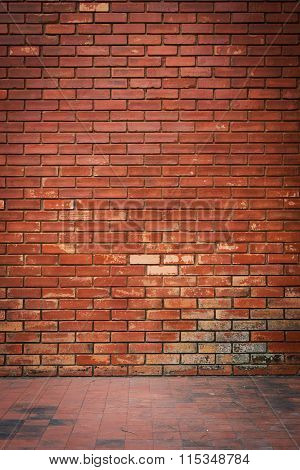 Old Brick Wall Weathered Texture And Dirty Floor Background