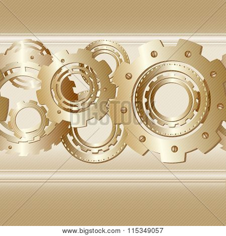 Vector seamless pattern with horizontal band of cogwheels.