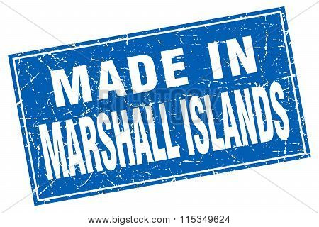 Marshall Islands blue square grunge made in stamp