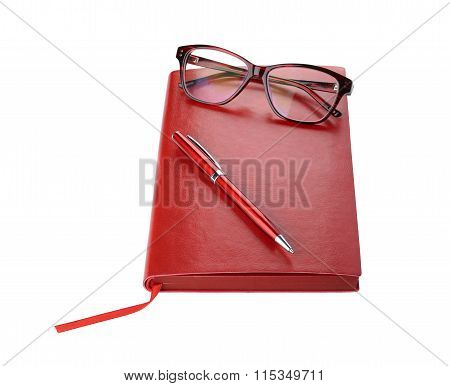 Daily planner with eyeglasses and pen red color