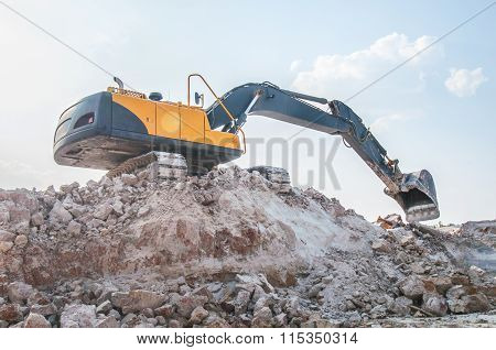 Loader Excavator Standing In Sandpit