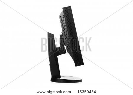 professional graphic monitor, side view isolated on white