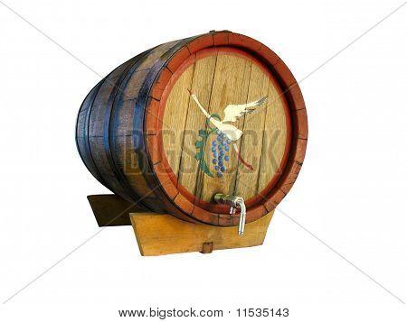 Alte hölzerne Wein Barrel, Isolated On White