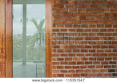 Mirror Glass Door And Brick Wall Texture Background