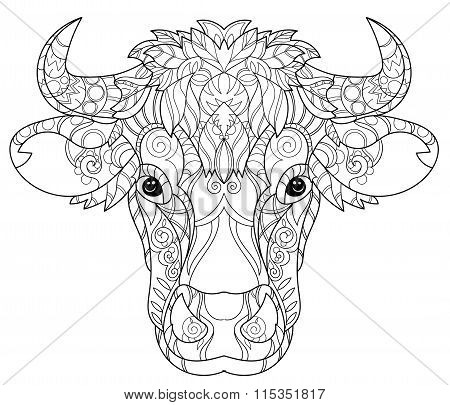 Hand drawn doodle outline cow head