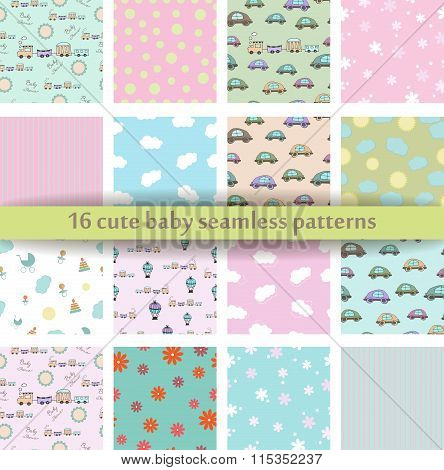 Set Of 16 Cute Baby Seamless Pattern. Retro Pink, White And Blue Colors. Texture For Web