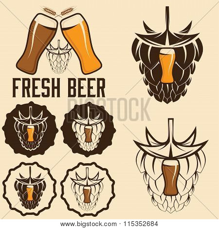 Set Of Beer Labels With Spikes And Hop