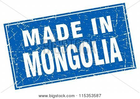 Mongolia blue square grunge made in stamp